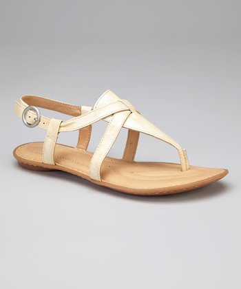 Crema Patent Leather Aberlin T-Strap Thong Sandal