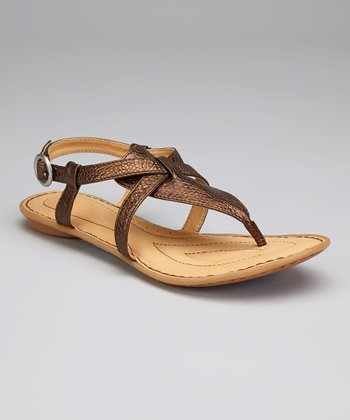 Wood Metallic Leather Aberlin T-Strap Sandal