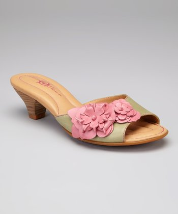 Cupido & Mimetico Flower Leather Aphrodite Slide