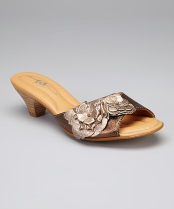 Wood & Pinuts Metallic Flower Leather Aphrodite Slide