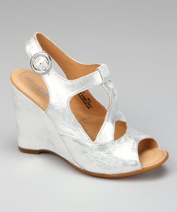 Bianco Metallic Leather Caity Wedge