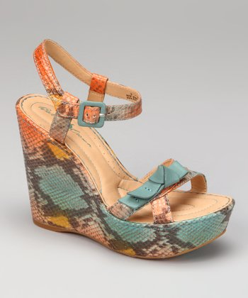 Turquoise Snake Metallic Leather Cassady Wedge