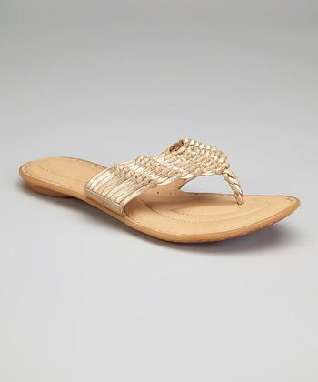 Oro Metallic Leather Elyse Sandal