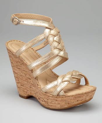 Oro Metallic Braided Leather Kaspin Wedge