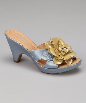 Blue & Yellow Metallic Leather Layla Sandal