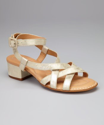 Platino Metallic Leather Paydin Sandal