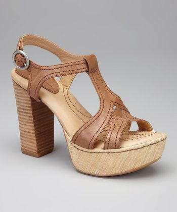Wood Leather Shanna T-Strap Platform Sandal