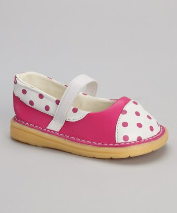Hot Pink & White Polka Dot Flat