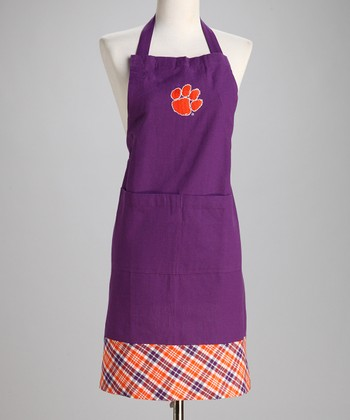 Purple & Orange Plaid Clemson Apron - Adult