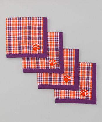 Purple & Orange Clemson Napkin - Set of Four