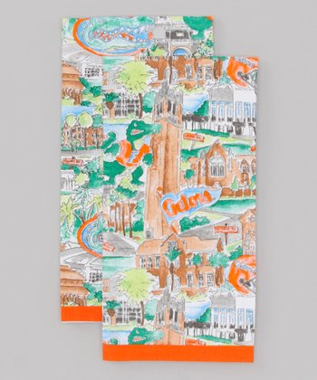 Blue & Orange Florida Tea Towel - Set of Two