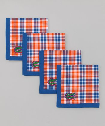 Blue & Orange Plaid Florida Napkin - Set of Four