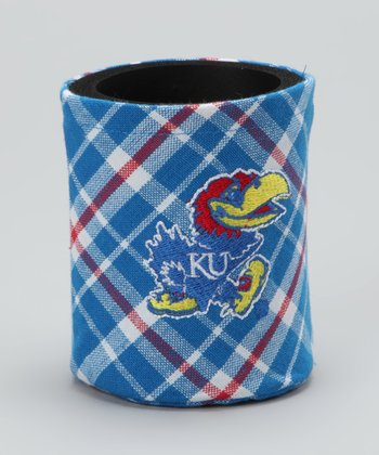 Red & Blue Plaid Kansas Koozie