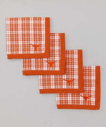 White & Burnt Orange Texas Napkin - Set of Four