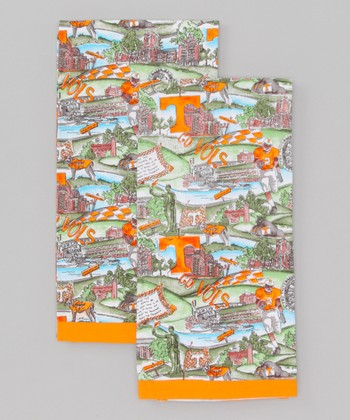 Orange & Green Landscape Tennessee Tea Towel - Set of Two