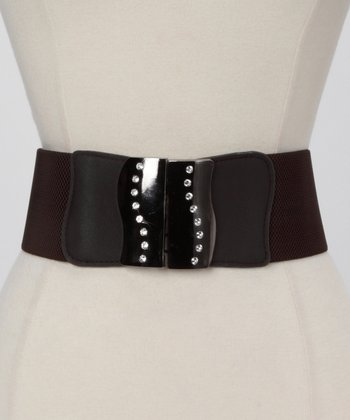 Brown Metallic Rhinestone Waist Belt