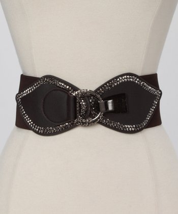Brown Rhinestone Butterfly Waist Belt