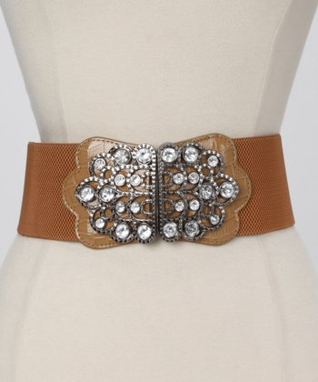 Tan Embellished Waist Belt