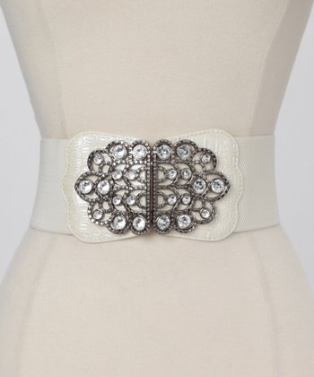 White Embellished Waist Belt