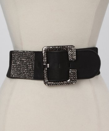 Black Rhinestone Buckle Waist Belt