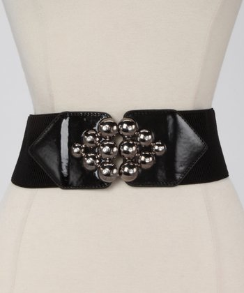 Black Metallic Marble Waist Belt