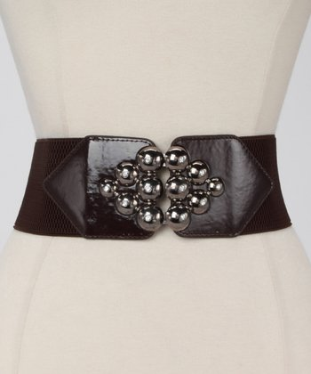 Brown Metallic Marble Waist Belt