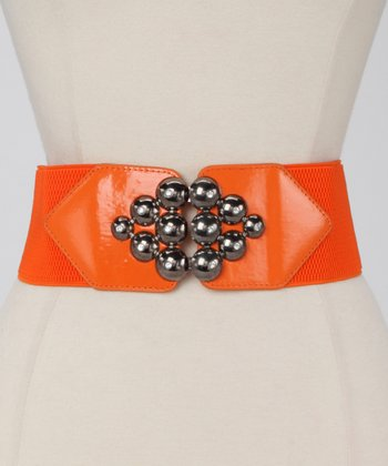 Orange Metallic Marble Waist Belt