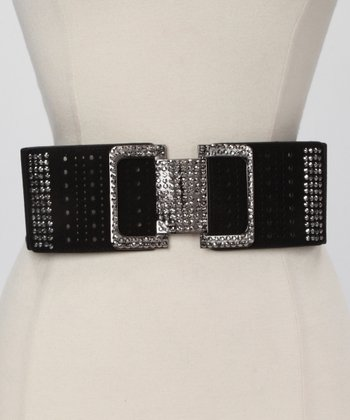Black Square Rhinestone Waist Belt