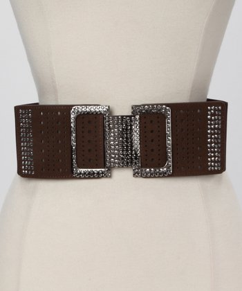 Brown Square Rhinestone Waist Belt