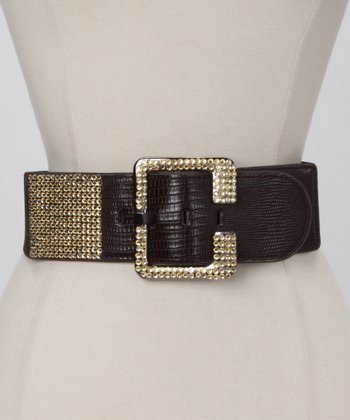 Brown Crocodile Rhinestone Waist Belt