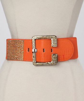 Orange Crocodile Rhinestone Waist Belt
