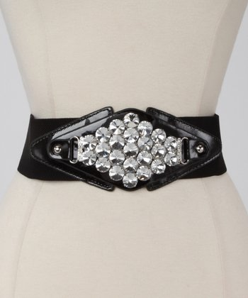 Black Metallic Diamond Waist Belt