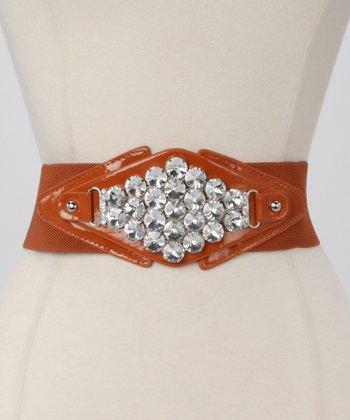 Cognac Metallic Diamond Waist Belt