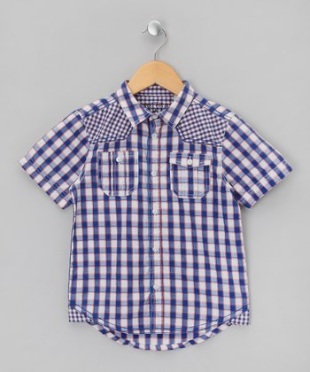 Blue Plaid Button-Up - Boys