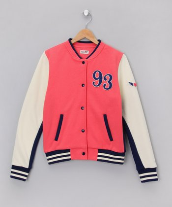 Pink '93' Varsity Jacket - Girls