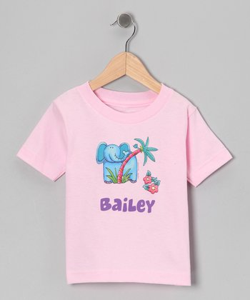 Light Pink Elephant Personalized Tee - Infant, Toddler & Girls