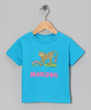 Turquoise Cheetah Personalized Tee - Infant, Toddler & Girls