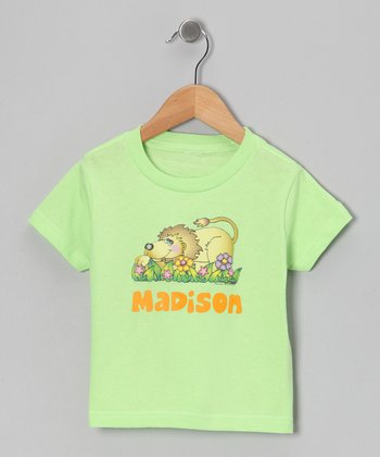 Key Lime Flower Lion Personalized Tee - Infant, Toddler & Girls