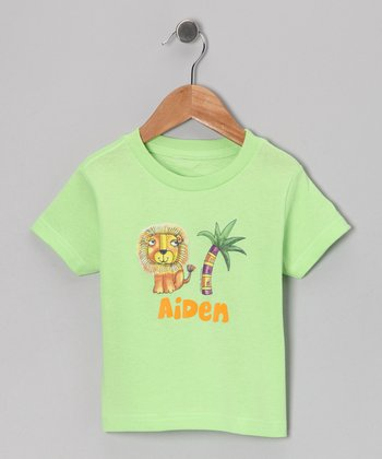 Key Lime Palm Tree Lion Personalized Tee - Infant, Toddler & Boys