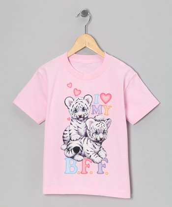 Light Pink 'I Love My B.F.F.' Tee - Girls