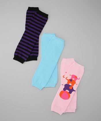 Pink & Black Bailey & Stripe Leg Warmer Set