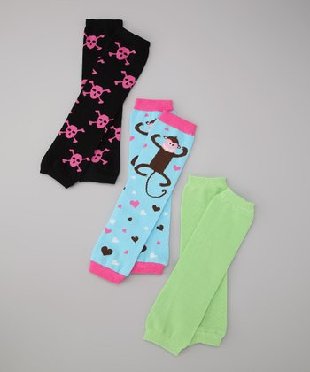 Blue & Pink Rockin Rosie & Monkey Love Leg Warmer Set