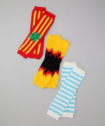 Red & Blue Clown Patch & Flames Leg Warmer Set