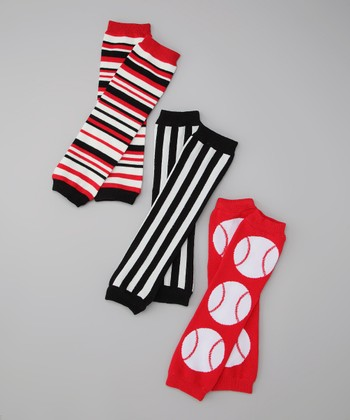 Black & White Everett Stripe & Baseball Leg Warmer Set