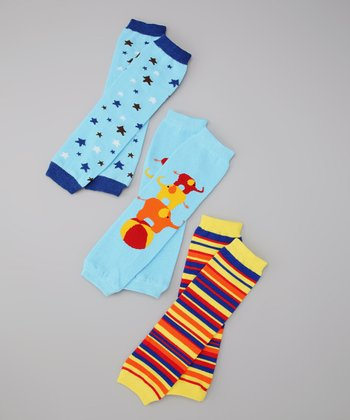 Blue & Yellow Monkey Stars & Barnum Leg Warmer Set