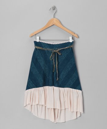 Cobalt & Almond Stripe Cleopatra Hi-Low Skirt - Toddler & Girls