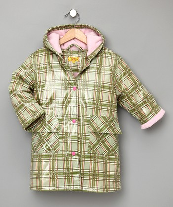 Green Plaid Fleece-Lined Raincoat - Infant, Toddler & Girls
