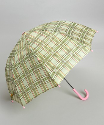 Green & Pink Plaid Umbrella