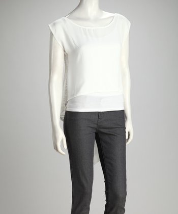 Ivory Chiffon & Crocheted Hi-Low Top