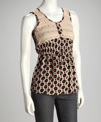 Black & Beige Abstract Floral Tank